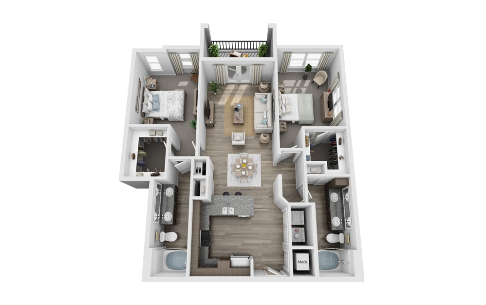 Barton - 2 bedroom floorplan layout with 2 baths and 1185 square feet.