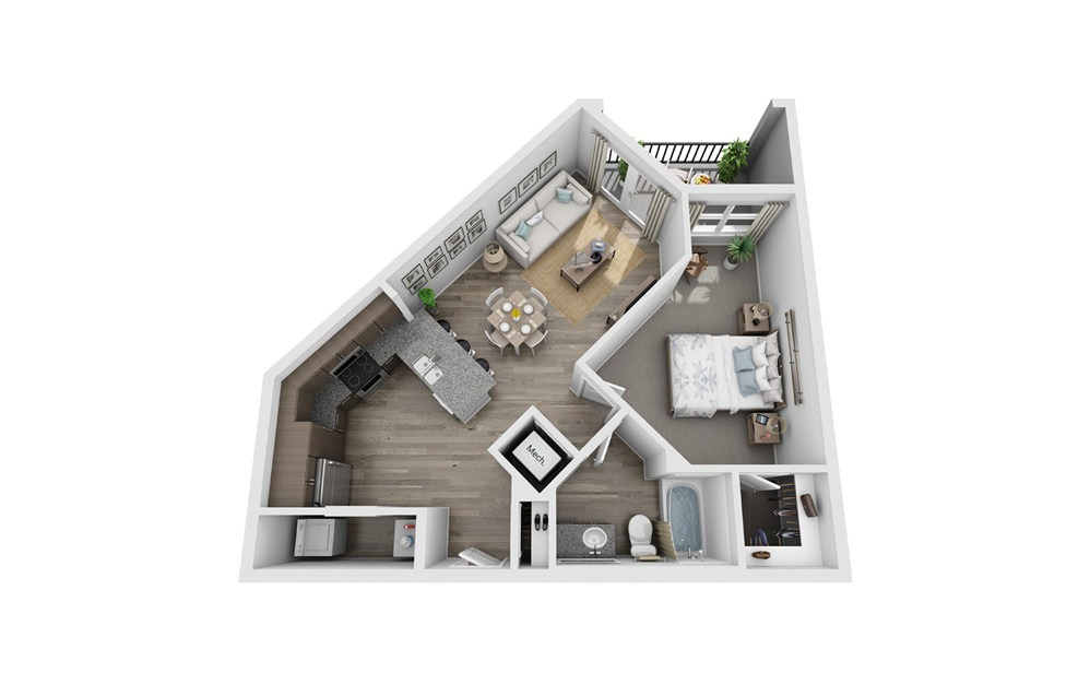Abita - 1 bedroom floorplan layout with 1 bath and 730 square feet.