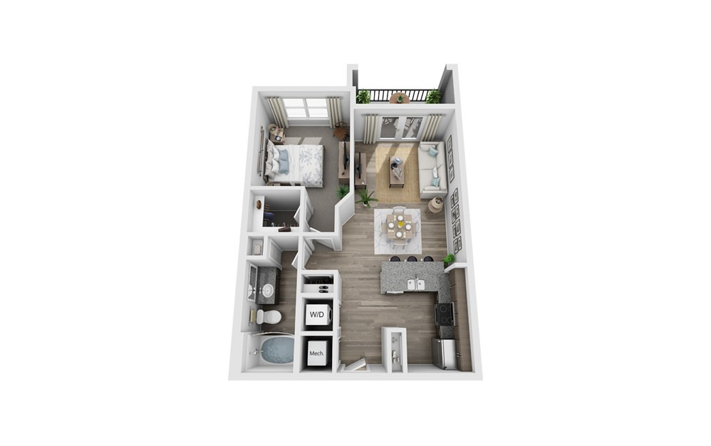 Alamosa - 1 bedroom floorplan layout with 1 bath and 717 square feet.