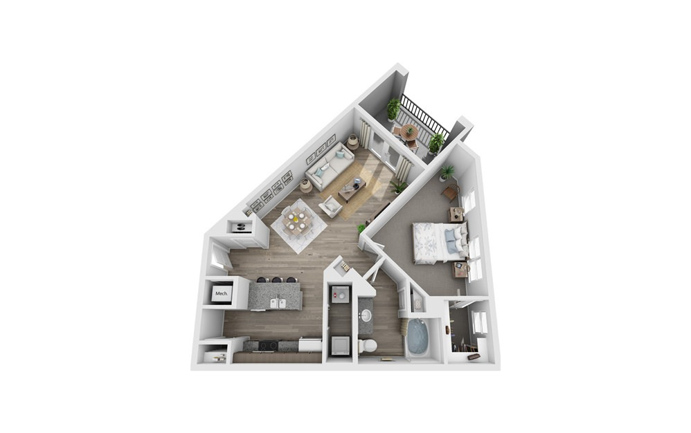 Alcovy - 1 bedroom floorplan layout with 1 bath and 855 square feet.