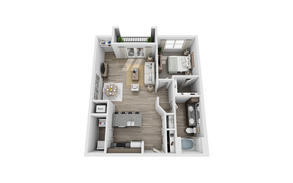 Alum - 1 bedroom floorplan layout with 1 bath and 888 square feet.