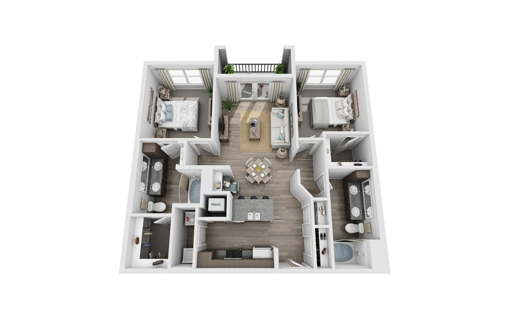 Banister - 2 bedroom floorplan layout with 2 baths and 1086 square feet.