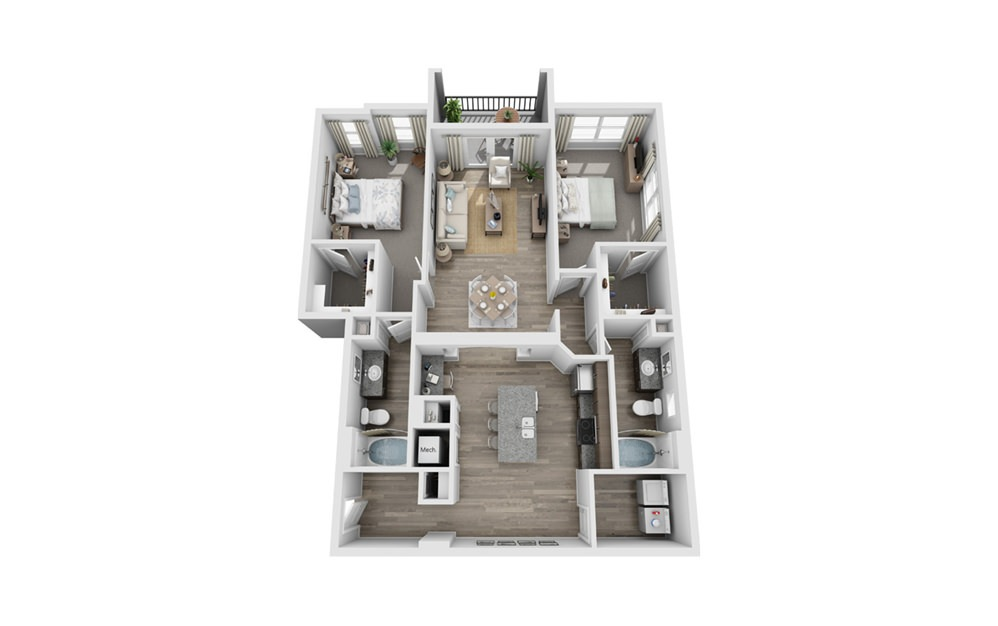 Baraboo - 2 bedroom floorplan layout with 2 baths and 1380 square feet.