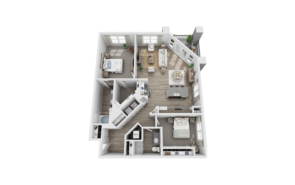 Barrington - 2 bedroom floorplan layout with 2 baths and 1406 square feet.